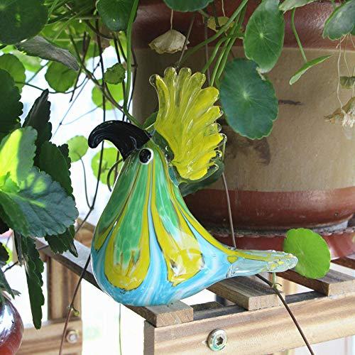 GHFT Decoración de Vidrio Esculturas y Accesorios Decorativos Cristal pájaro y Loro Estatua Mesa decoración Escultura Hecha a Mano Animal Figura Vidrio Artista decoración del hogar-D