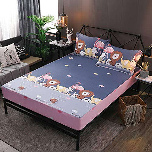 YFGY Healthy Hypoallergenic and Antibacterial Bedding Sheets single XL,Solid Color Cotton Elastic Fitted Sheet Bed Linen Waterproof, Home Sheets Mattress Cover Bedroom For Kids E 100cm*200cm