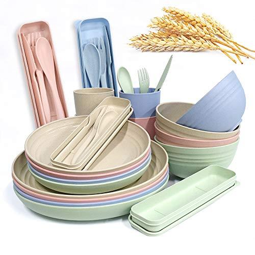 Juego de vajilla grande de cocina de 20 piezas, platos de pasta anchos y poco profundos, platos de ensalada, cuencos de sopa, platos de camping resistentes y duraderos (estilo 2)