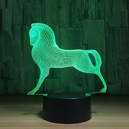 Poney Cheval 3D LED Lampe 7 Couleurs Changer LED USB Acrylique Petite Veilleuse Lampe D'atmosphère Intérieure Pour Enfants Jouets Et Cadeaux