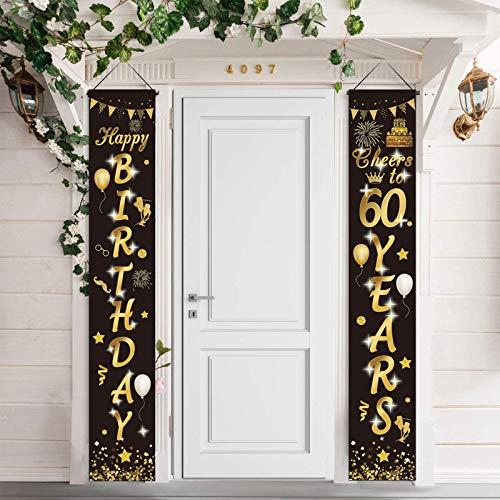 60.Geburtstag Party Dekorationen Schwarz und Gold,60.Geburtstagsdeko Alles Gute zum Geburtstag Banner, Prost auf 60 Jahre Banner Willkommen Veranda Zeichen für Männer Frauen 60. Geburtstagsdeko