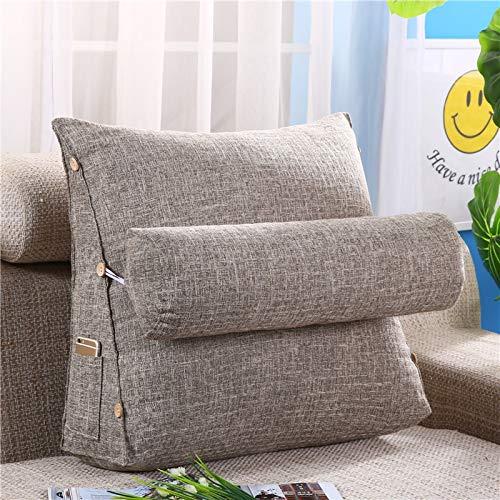 JONJUMP Cojín estéreo, almohada con forma de cuña, respaldo de algodón y lino, cojines para sofá, cama, tumbona, almohada de lectura, lavable