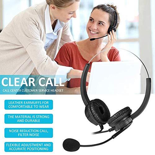 Atención al cliente auricular VH530D binaural computadora PC auricular USB cable reducción de ruido de atención al cliente auricular para centro de llamadas, negro