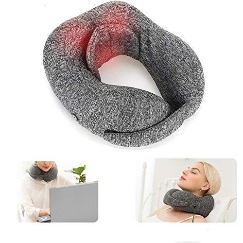 Almohada cervical en forma de U, eléctrica y térmica, 360 °, para aliviar el dolor