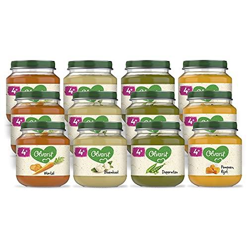 Olvarit Variatiemenu Groente - groentehapje voor babys vanaf 4+ maanden - 4 verschillende smaken babyvoeding - 12 groentepotjes van 125 gram