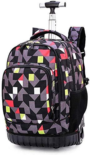 WUAZ Zaino di rotolamento per i Bambini, i Bambini Zaino Trolley Sacchetto di Scuola primaria con Ruote di Viaggio 18' Computer Portatile Multifunzione Bookbag Wheeled Backpack Deposito,B