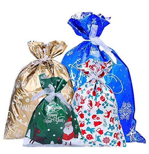 BLAZOR Weihnachten Geschenkbeutel, Geschenkverpackung Taschen, 30 Stück Geschenktaschen für Weihnachten mit Band, für Xmas Party Süßigkeiten Spielzeug Verpackungsbeutel, Weihnachts Dekoration