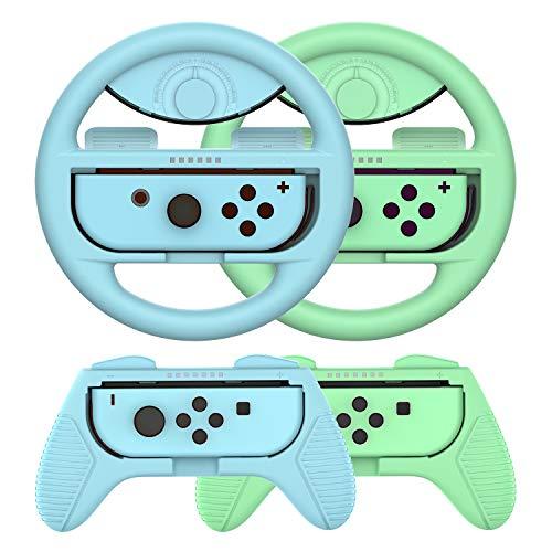 Joy-Conハンドル マリオカート8 デラックス Switch ジョイコンハンドル コントローラー(あつ森カラー /4点セット) momen®