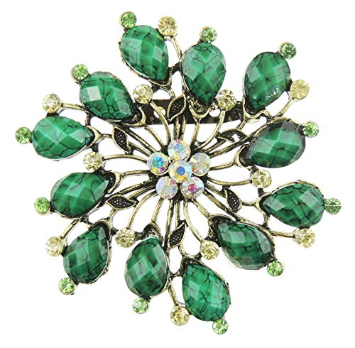 Glamour Girlz Ladies Large Evening Flower Crystal Sparkly Brooch Stencil Pinwheel Flower (Jade Green)