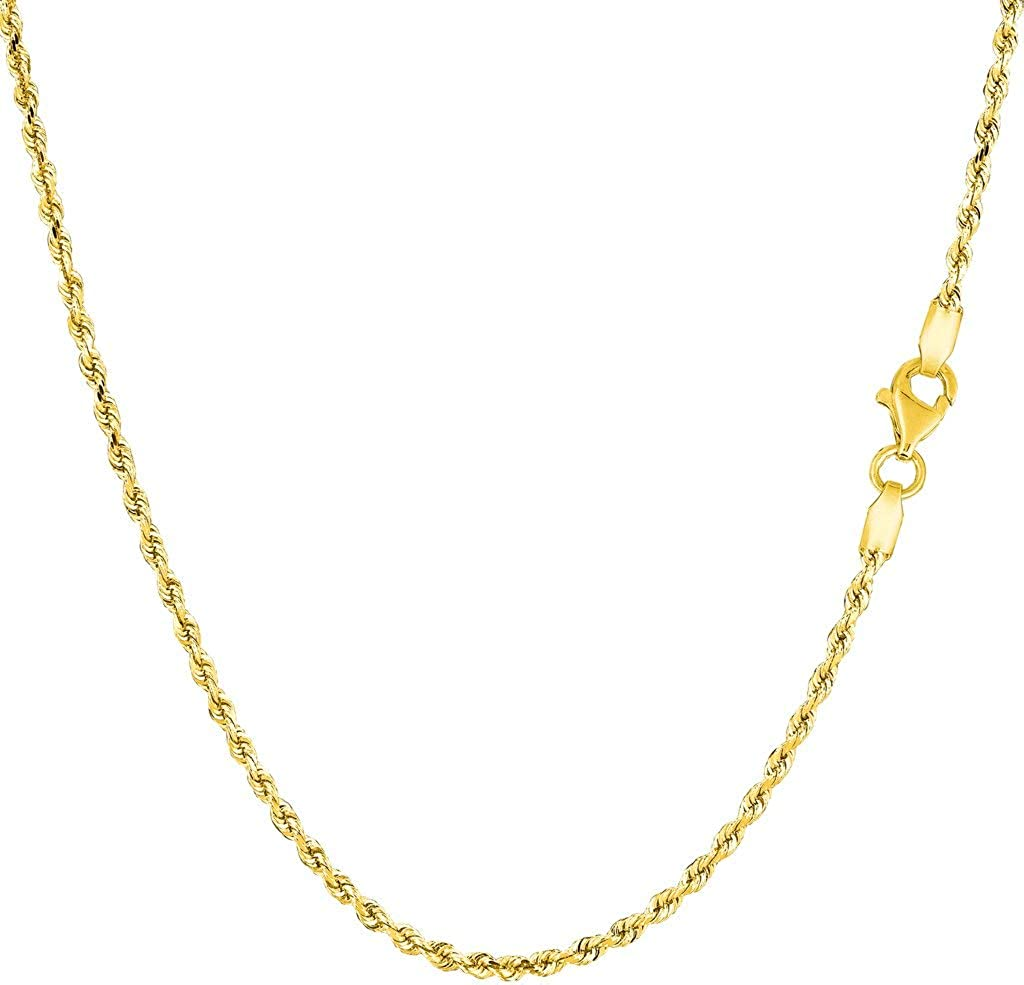 10k REAL Yellow Gold 1.50mm,2mm,2.5mm,3.2mm, OR 4mm Shiny Hollow Rope Chain Necklace for Pendants and Charms with Lobster-Claw Clasp (7