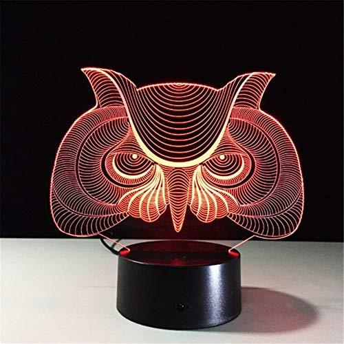 Forma de búho 3D LED luz de noche decoración de habitación de bebé luz de acrílico lámpara de mesa que cambia de color