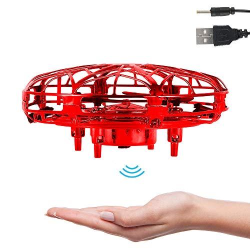 Mini Drone UFO con Luces LED Flying Ball para Niños Recargable UFO Drone Movimiento Control A Mano (Rojo)