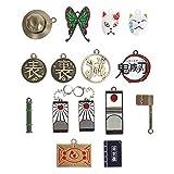 Set de Joyas de Kimetsu no Yaiba con 13 Colgantes & 2 Pendientes   Collar de Demon Slayer / Colgante   Metal