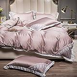 juego de funda nórdica cama 90,Ropa de cama de verano es un juego de seda de hielo de cuatro piezas de cuatro piezas de lavado de agua de doble cara, ropa de cama de seda-A_18m Cama - Adecuado para 2