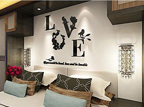 Autocollants adhésifs muraux stéréo acrylique autocollant miroir décoration chambre salon TV fond stickers muraux, 670x520mm, noir