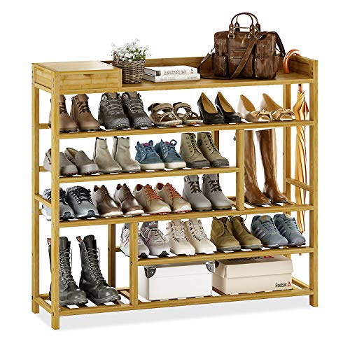 Bamworld Shoes Rack Shelf Organizer for Entryway 5 Tier Bamboo 24 Pair Boots Footwear Book Flowerpots with Storage Box (Natural)
