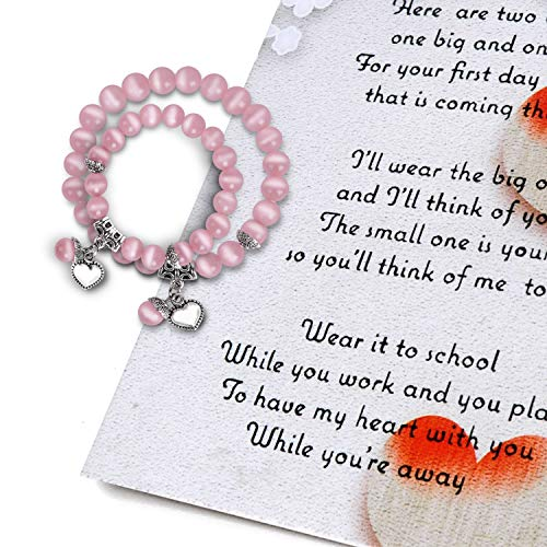 ORIENTAL CHERRY Back to School Gifts - First Day of School Mommy & Me Bracelets with Poem Card -...