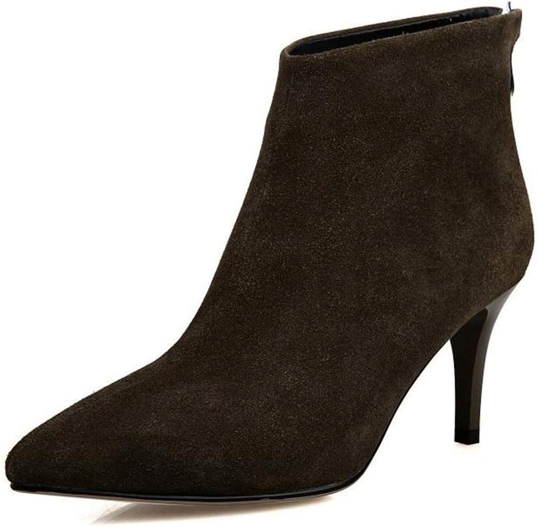 FUN.S Women Pointed Toe Boots Dress Comfortable Kitten Heels Evening Boots