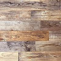天然木 壁 壁材 diy 古材 ウッドパネル ウッドボード 両面テープ 貼る 木 板 ウッドタイル 0.97平米セット 内装 壁用 貼れる木 板 木の板 壁板 インテリア 木材 裏面シール付き (ヴィンテージブラウン)
