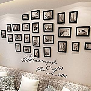 crib bedding and baby bedding wall decals mural decor vinyl sticker because two people fell love quotes love verse picture frame set nursery sk8463 (w35 h11)