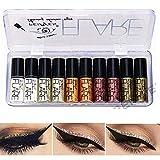 Lucoss Glitter Liquid Eyeliner Eye Shadow Makeup Kit Long Lasting Luminous Shimmer Eyeshadow Liquid