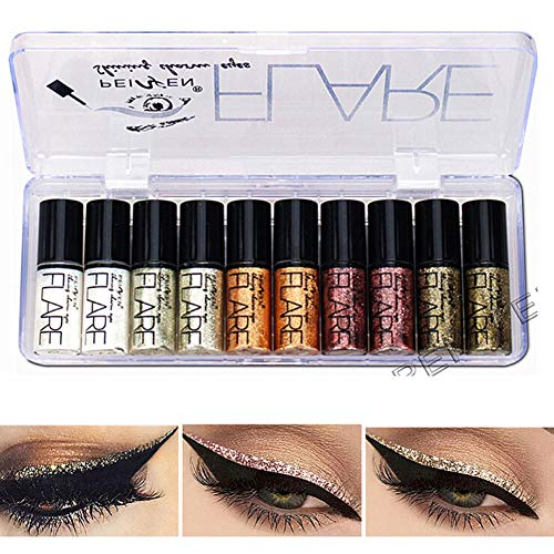 Allbestaye 10 Pcs Diamond Glitter Eyeliner Liquid Set Schimmer Metallic Lidschatten Wasserfest Makeup Kit