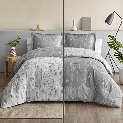 Bedsure Floral Comforter Set Queen Size Bed Grey & White, Flower and Plant Printed Reversible Botanical Comforter All Season Duvet Set, Full Size 3 Piece Bedding Set with 2 Pillow Shams