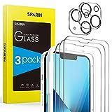 SPARIN 3 Pezzi Vetro Temperato compatibile con iPhone 13 6,1 Pollici e 2 Pezzi Pellicola Fotocamera, con Cornice di Installazione