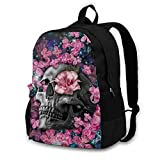 Pink Skull and Flowers Youth Adult Backpack College Bookbag Shoulder Laptop Bag Rucksack Daypack for Tourism Mountaineering Shopping Zoo Park Outdoor Sports