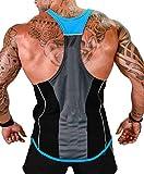 MIZOK Mens Y-Back Tank Tops Gym Bodybuilding Workout Sleeveless Shirts (XL, Blue)