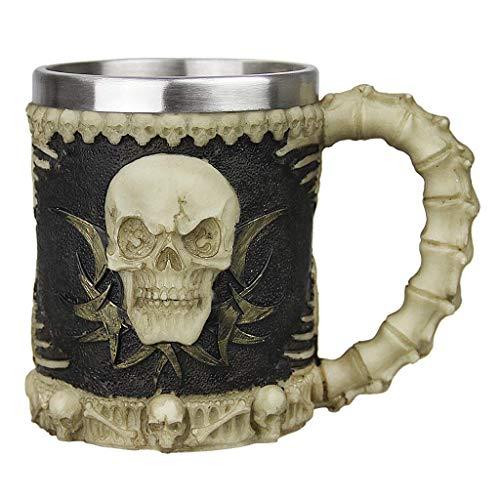 Creative Mug 3D Tasse de Crâne Résine Coupe à Café Thé Boire Mug Tasse d'Eau Chocolat Maison Bureau Chope à Bière Vin Boisson Froide Cappuccino en Acier Inoxydable pour Halloween Noël Anniversaire