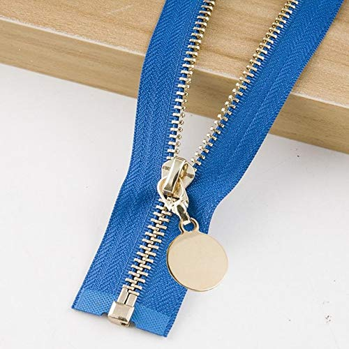 Houer Cremallera Acolchada Acolchada de Metal Chaqueta Desmontable Falda de Cuero Tapeta Accesorio de Prenda, Azul, Diente Negro