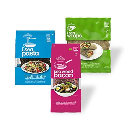 Seamore Probierset - Bacon, Pasta, Wraps - 410g | Algen Nudeln + veganer Speck + Wraps | Vegan, Nachhaltig