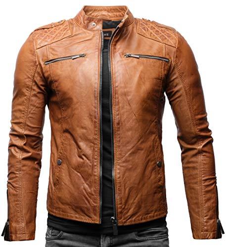 Crone Meo Herren Lederjacke Cleane Basic Echtleder Jacke (XL, Cognac (Rindsleder))