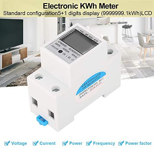 Stromzähler,Jectse 220V 5(80) A Digital LCD 1 Phasen Din Schienen Energiezähler Elektronische KWh Meter für Hutschiene