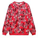LIMITA Damen Männer Herbst Winter 3D Weihnachtsdruck Langarm O-Neck Sweatshirt Bluse Weihnachten Deko Weihnachten KostüM
