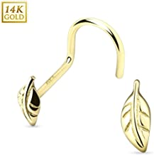Body Accentz Nose Ring Stud 14 Karat Solid Gold Leaf Nose Screw 20g