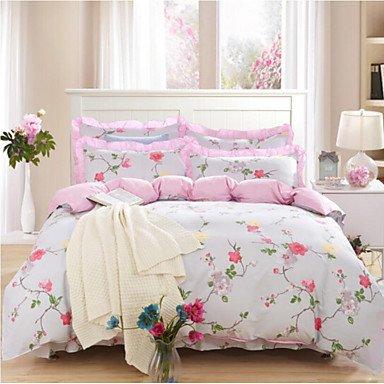 ZYT Fleur 4 Pièces Coton Coton 1 x Housse de Couette 2 x Taies d'oreiller brodées 1 x Drap Housse White Full