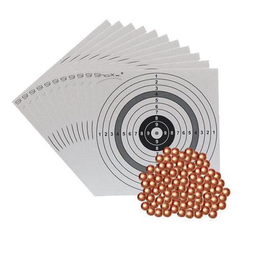 Set: 1500 H&N verkupferte Luftgewehr Punktkugeln Kaliber 4,40 mm im Beutel + 10 ShoXx.® Shoot-Club Zielscheiben 14x14 cm mit zusätzlichen grauen Ring und 250 g/m²