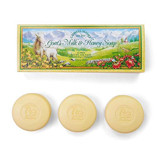 Caswell-Massey Goat's Milk & Honey Bath Soap Bars – Natural Creamy Formula With Vitamins and Mineral Salts – 3 Pack