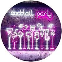 Cocktail Party Home Bar Club Pub Dual Color LED看板 ネオンプレート サイン 標識 白色 + 紫 600 x 400mm st6s64-i3175-wp