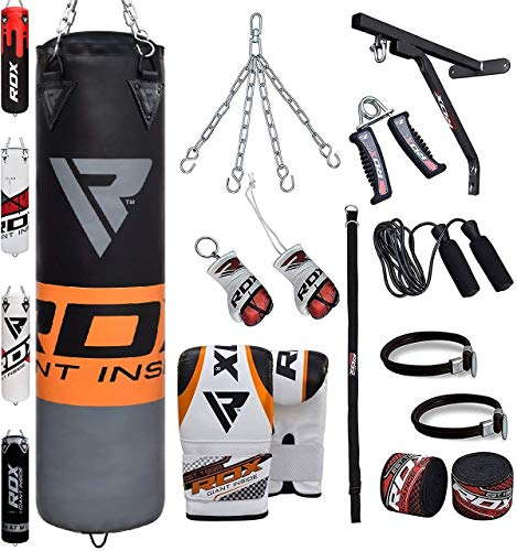 RDX Boxsack Set Gefüllt Kickboxen MMA Muay Thai Boxen mit wandhalterung Stahlkette Training Handschuhe Kampfsport Schwer Punchingsack Gewicht 4FT 5FT 17PC Punching Bag (MEHRWEG)