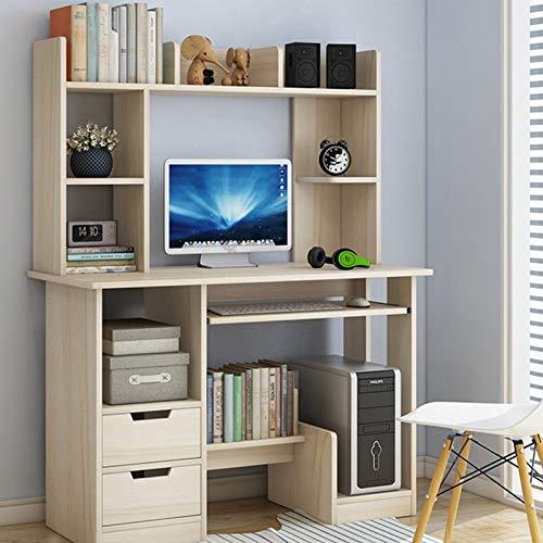 TIYKI Compact Scrivania del Computer,Multiuso Tabella Home Office,con Libreria 2 Cassettiere di Stoccaggio Vassoio Tastiera-Colore Legno Ciliegio d'Acero 90x40x71cm(35x16x28inch)