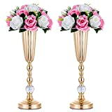 Nuptio 2 Pcs Metal Wedding Flower Trumpet Vase with Crystal Bead, Table Decorative Centerpiece, 44.8cm Height Artificial Flower Arrangements for Anniversary Party Birthday Event Aisle Home Decoration