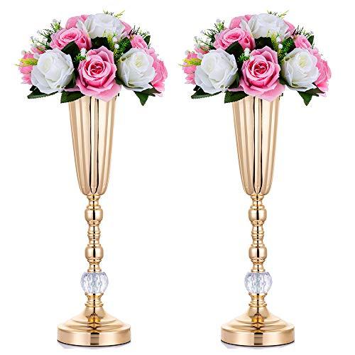 Nuptio 2 Stück Metall Hochzeit Blume Trompete Vase mit Kristall Perle, Tischdekoration Herzstück, 44.8cm Höhe Künstliche Blumenarrangements für Jubiläumsparty Geburtstag Event Gang Dekoration