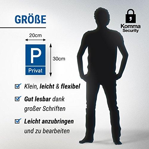 Parkplatz Schild Privat (blau, 20 x 30cm), Hinweisschild Privatparkplatz, Privatgrundstück, Parkplatzschild Reserviert – Parkplatz freihalten, vermietet, Parkverbot für Falschparker - 6
