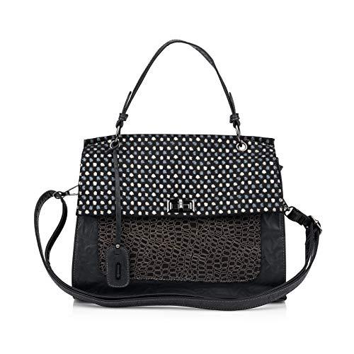 Remonte Damen Handtaschen Q0432, Frauen Umhängetaschen, schultertasche accessoire jung,schwarz/schwarz,One size/Einheitsgröße