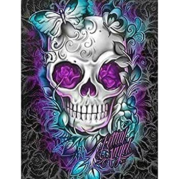 Diamond Painting 5D DIY Kits for Adults Kids Beginners Home Office Decortaion Gift Presents for Him Her Butterfly Skull 11.8x15.7in 1 Pack