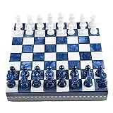 ZWJ Ajedrez Internacional Odate Stone Chess Set Family Standard International Chess Creative Board Decoration Regalo para Los Amantes del Ajedrez (Color : Blue)