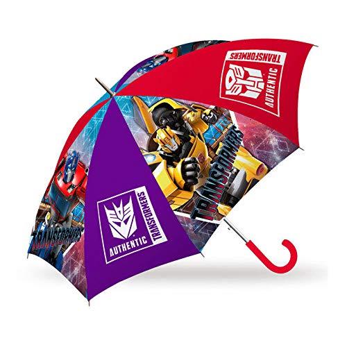 Kids Paraguas 45cm Automatico de Transformers Paraguas Clásico, 80 cm, Multicolor